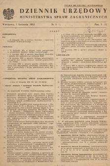 Dziennik Urzędowy Ministerstwa Spraw Zagranicznych. 1952, nr1