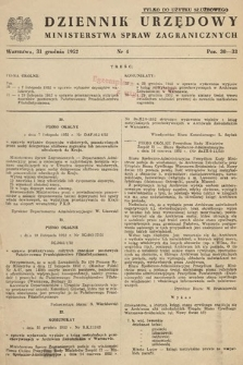 Dziennik Urzędowy Ministerstwa Spraw Zagranicznych. 1952, nr4