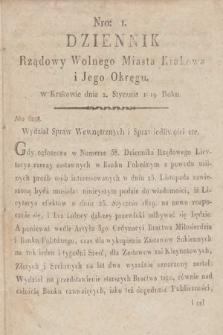 Dziennik Rządowy Wolnego Miasta Krakowa i Jego Okręgu. 1819, nr1
