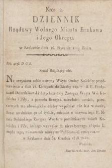 Dziennik Rządowy Wolnego Miasta Krakowa i Jego Okręgu. 1819, nr2