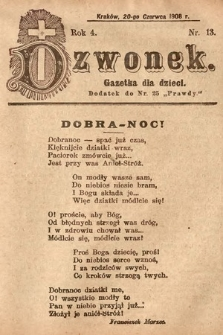 Dzwonek : gazetka dla dzieci. 1908, nr13