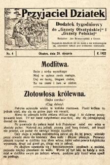"""Przyjaciel Dziatek : dodatek tygodniowy do """"Gazety Olsztyńskiej"""" i""""Gazety Polskiej"""". 1922, nr4"""