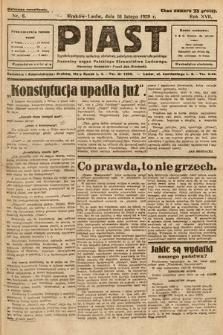 Piast : tygodnik polityczny, społeczny, oświatowy, poświęcony sprawom ludu polskiego : Naczelny organ Polskiego Stronnictwa Ludowego. 1929, nr6