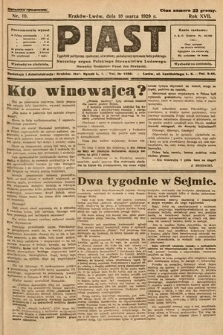 Piast : tygodnik polityczny, społeczny, oświatowy, poświęcony sprawom ludu polskiego : Naczelny organ Polskiego Stronnictwa Ludowego. 1929, nr10