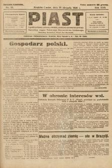 Piast : tygodnik polityczny, społeczny, oświatowy, poświęcony sprawom ludu polskiego : Naczelny organ Polskiego Stronnictwa Ludowego. 1929, nr33