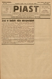 Piast : tygodnik polityczny, społeczny, oświatowy, poświęcony sprawom ludu polskiego : Naczelny organ Polskiego Stronnictwa Ludowego. 1929, nr46