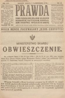 Prawda : pismo poświęcone sprawom religijnym, narodowym, politycznym, gospodarskim i rozrywce. 1920, nr37