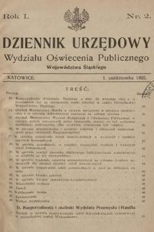 Dziennik Urzędowy Wydziału Oświecenia Publicznego Województwa Śląskiego. 1923, nr2