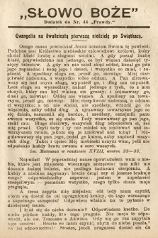 Słowo Boże : dodatek do Prawdy. 1908, nr44