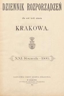 Dziennik Rozporządzeń dla Stoł. Król. Miasta Krakowa. 1900 [całość]