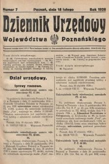Dziennik Urzędowy Województwa Poznańskiego. 1928, nr7