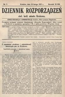 Dziennik Rozporządzeń dla Stoł. Król. Miasta Krakowa. 1927, nr2