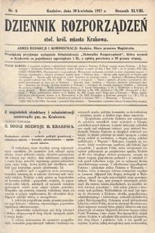 Dziennik Rozporządzeń dla Stoł. Król. Miasta Krakowa. 1927, nr4