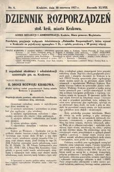 Dziennik Rozporządzeń dla Stoł. Król. Miasta Krakowa. 1927, nr6