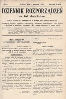 Dziennik Rozporządzeń dla Stoł. Król. Miasta Krakowa. 1927, nr8
