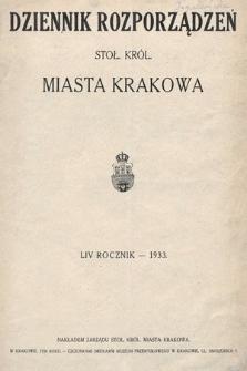 Dziennik Rozporządzeń dla Stoł. Król. Miasta Krakowa. 1933 [całość]