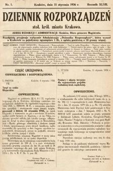 Dziennik Rozporządzeń Stoł. Król. Miasta Krakowa. 1926, nr1