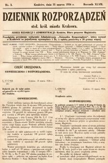 Dziennik Rozporządzeń Stoł. Król. Miasta Krakowa. 1926, nr3