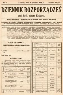 Dziennik Rozporządzeń Stoł. Król. Miasta Krakowa. 1926, nr4
