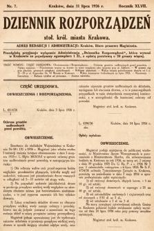 Dziennik Rozporządzeń Stoł. Król. Miasta Krakowa. 1926, nr7