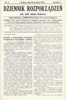 Dziennik Rozporządzeń dla Stoł. Król. Miasta Krakowa. 1929, nr9