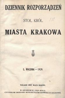 Dziennik Rozporządzeń dla Stoł. Król. Miasta Krakowa. 1929 [całość]