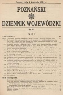 Poznański Dziennik Wojewódzki. 1931, nr15