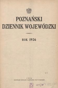 Poznański Dziennik Wojewódzki. 1936, skorowidz alfabetyczny