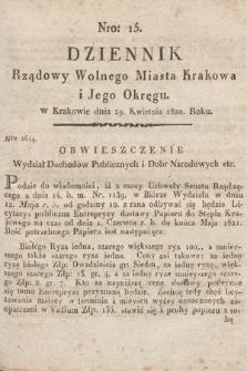 Dziennik Rządowy Wolnego Miasta Krakowa i Jego Okręgu. 1820, nr15