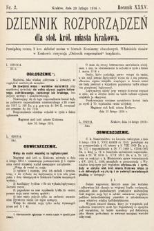 Dziennik Rozporządzeń dla Stoł. Król. Miasta Krakowa. 1914, nr2