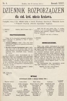 Dziennik Rozporządzeń dla Stoł. Król. Miasta Krakowa. 1914, nr6