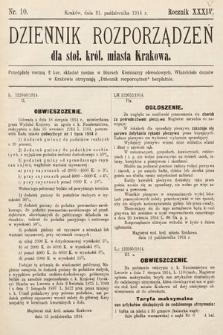Dziennik Rozporządzeń dla Stoł. Król. Miasta Krakowa. 1914, nr10