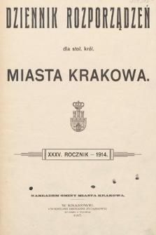Dziennik Rozporządzeń dla Stoł. Król. Miasta Krakowa. 1914 [całość]