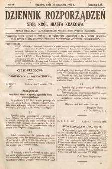 Dziennik Rozporządzeń Stoł. Król. Miasta Krakowa. 1931, nr9