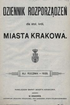 Dziennik Rozporządzeń dla Stoł. Król. Miasta Krakowa. 1920 [całość]