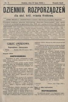 Dziennik Rozporządzeń dla Stoł. Król. Miasta Krakowa. 1923, nr7