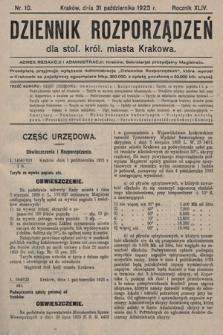 Dziennik Rozporządzeń dla Stoł. Król. Miasta Krakowa. 1923, nr10