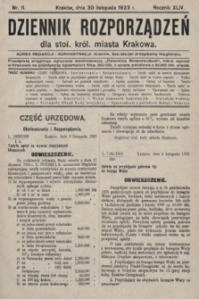 Dziennik Rozporządzeń dla Stoł. Król. Miasta Krakowa. 1923, nr11