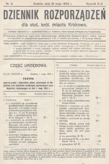Dziennik Rozporządzeń dla Stoł. Król. Miasta Krakowa. 1924, nr5
