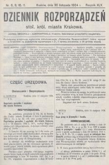 Dziennik Rozporządzeń Stoł. Król. Miasta Krakowa. 1924, nr8, 9, 10, 11