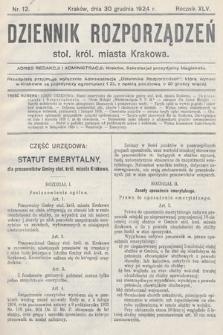 Dziennik Rozporządzeń Stoł. Król. Miasta Krakowa. 1924, nr12