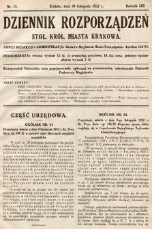Dziennik Rozporządzeń Stoł. Król. Miasta Krakowa. 1932, nr11