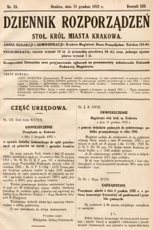 Dziennik Rozporządzeń Stoł. Król. Miasta Krakowa. 1932, nr12