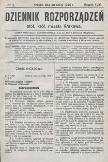 Dziennik Rozporządzeń Stoł. Król. Miasta Krakowa. 1925, nr2