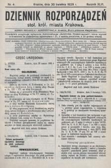 Dziennik Rozporządzeń Stoł. Król. Miasta Krakowa. 1925, nr4