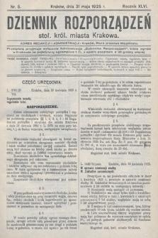 Dziennik Rozporządzeń Stoł. Król. Miasta Krakowa. 1925, nr5