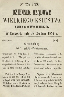 Dziennik Rządowy Wielkiego Księstwa Krakowskiego. 1852, nr282-283