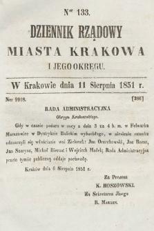 Dziennik Rządowy Misata Krakowa i Jego Okręgu. 1851, nr133