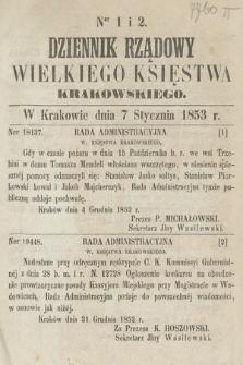 Dziennik Rządowy Wielkiego Księstwa Krakowskiego. 1853, nr1-2