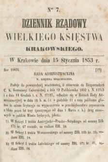 Dziennik Rządowy Wielkiego Księstwa Krakowskiego. 1853, nr7